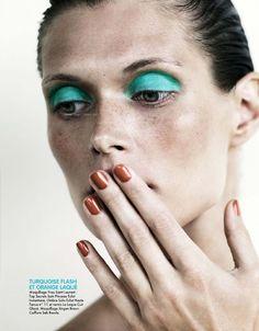turquoise eye shadow, Margosia Bela, Jan Welters for Elle France