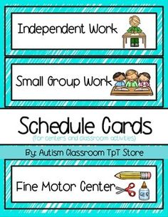 Special Education Classroom Schedule Cards.  ( Autism Classroom Schedule ) #speced #specialeducation #schedule