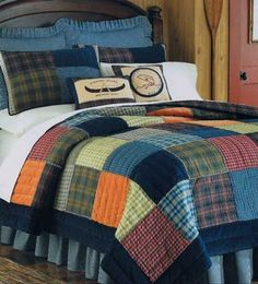 green blue orange plaid quilt | Northern Plaid Quilt Bedding by C Enterprises