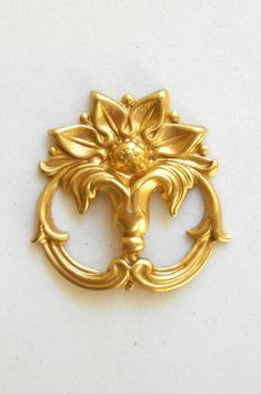 1 raw brass victorian floral connector by GloriousGlassBeads