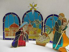 Stained glass nativity scene / vintage by cgraceandcompany on Etsy