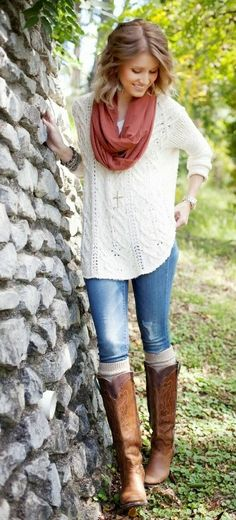 Fall style with white sweater, denim and long boots LOVE those boots!