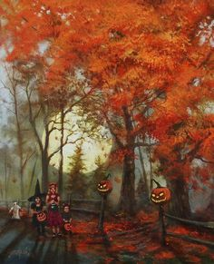 Trick or Treaters kids autumn fall costume fence halloween pumpkins trick or treat