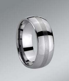 8MM domed tungsten carbide wedding ring features brushed grain-like texture centre. Smooth and comfortable fit for every day wear.