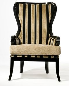Pair Of Black & Gold High Back Armchairs