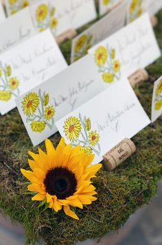 Fresh sunflowers and Castiglion Del Bosco wine corks compliment this wedding's outdoor rustic charm. Wedding Place Cards, Wedding Menu, Floral Wedding, Fall Wedding, Wedding Decor, Wedding Planning, Wedding Ideas, Cowgirl Wedding, Wine Corks
