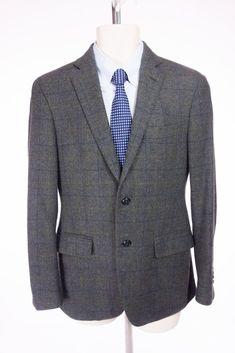 ETRO Mens 100% Cashmere Blazer 46 US 36 S Gray Plaid Check 2Btn Jacket #Etro #TwoButton