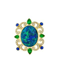 Crevoshay Black Opal Sapphire Emerald Diamond Gold Ring £20,059.09