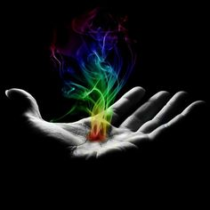 Hand with Rainbow Flames