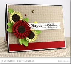 Houndstooth Background, Pretty Poppies, Gerbera Daisy Die-namics, Royal Leaves Die-namics, Stitched Fishtail Flags STAX Die-namics - Jodi Collins  #mftstamps