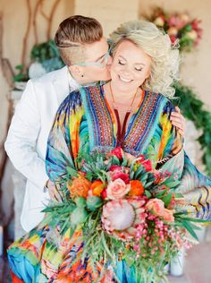 Colorful sam sex wedding in the desert! Photography : Elyse Hall Photography Read More on SMP: http://www.stylemepretty.com/little-black-book-blog/2016/10/04/colorful-same-sex-desert-wedding/