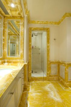 Yellow marble bathroom
