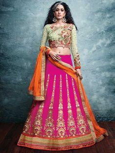 Pink & Orange color Heavy Embroidered Wedding Lehenga by Nakkashi