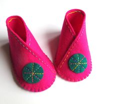 Baby Bootie KIT - Wool Felt - Do It Yourself - Materials and Instructions - Pattern and Pre Cut Pieces