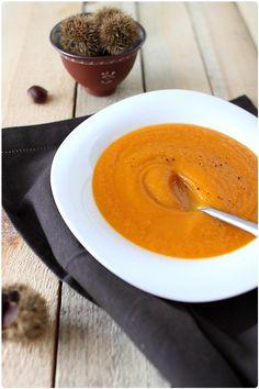 Velouté courge, carotte et patate douce au lait de châtaigne