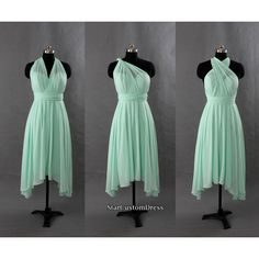 Mint Bridesmaid Dress Short Chiffon Dress One Shoulder Bridesmaid... ($99) ❤ liked on Polyvore featuring dresses, short cocktail dresses, mint green dress, one shoulder chiffon dress, mint bridesmaid dresses and mint green short dress