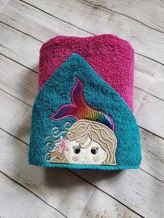Mermaid Hooded Towel,Child's Hooded Towel,Personalized Hooded … - hooded towel Kids Hooded Towels, Hooded Bath Towels, Red Towels, Pool Towels, Mermaid Towel, Mermaid Coloring, Kids Birthday Gifts, Vinyl Fabric, Time Shop