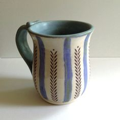 Blue and White Pottery Mug with Stripes of Vines on Etsy, $20.00