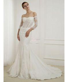 Robe de mariée style sirène en dentelle corset rigide décolleté barque corsage transparent traîne chapelle économique en vente sur miamastore