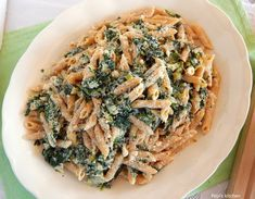 Whole wheat penne with spinach and greek yogurt