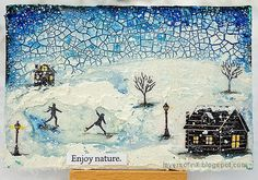 Layers of ink - Mixed Media Winter Landscape Tutorial by Anna-Karin Evaldsson. Mixed Media Techniques, Mixed Media Tutorials, Snow Theme, Cut Image, Old Book Pages, Shades Of Yellow, Winter Landscape, Hero Arts, Winter Scenes