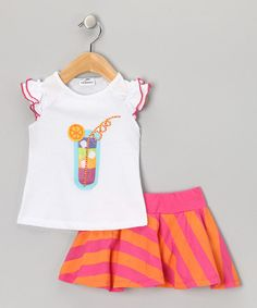 Look what I found on #zulily! White & Pink Stripe Tumbler Top & Skirt - Infant #zulilyfinds