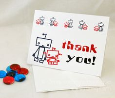 kids robot birthday party thank you cards - www.r3mg.com