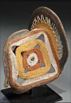 ABELAM YAM MASK, C 1960's. Natural fibres and ochres