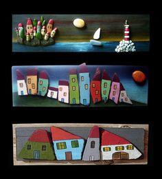 Sea, Sailboat & Houses - Pebble Art - Michela Bufalini
