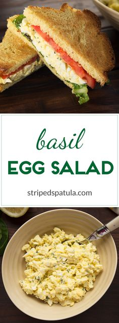 Creamy and bright with the flavors of fresh basil and a touch of garlic, this egg salad is a nice variation on a classic.  Great way to use up Easter eggs!