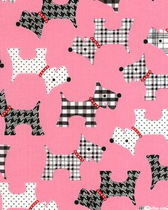 pink patterned dog animal fabric by Robert Kaufman USA 1 Textiles, Textile Patterns, Kawaii, Art Clipart, Paint Shop, Cellphone Wallpaper, Pink Candy, Scottie, Letters And Numbers
