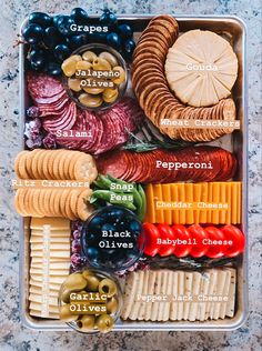Charcuterie board sheet pan meat tray cheese tray veggie tray appetizer meat and cheese tray charcuterie board simple easy plain Meat And Cheese Tray, Meat Trays, Food Trays, Simple Cheese Platter, Cheese And Cracker Tray, Cheese Party Trays, Easy Cheese, Cheese Plates, Wine Cheese