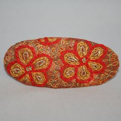 Embroidered Barrette  Scarlet and Gold by Lynwoodcrafts on Etsy