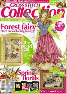 Cross Stitch Collection 167 2009.Forest fairy, pond life, flowers, horses, baby sampler, duck pond (nice)