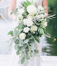 Need a bridal bouquet inspiration for your wedding? Consider the white bridal bouquet. While we love scoping out all of the innovative floral designs that are out there, a white bouquet will forever be timeless. But why white? Cascading Wedding Bouquets, Vintage Wedding Flowers, Cascade Bouquet, Wedding Flower Arrangements, Bride Bouquets, Bridal Flowers, Flower Bouquet Wedding, Floral Wedding, Wedding Colors