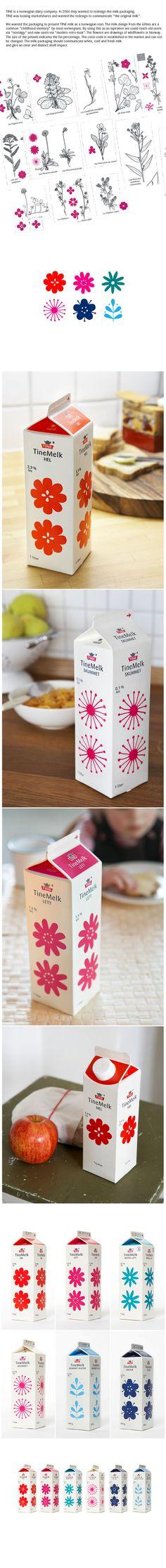 Identidade visual delicada para embalagens de Leite  Designed by Dinamo Design