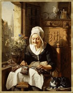 Fine Art Repro choose Canvas or Paper The Lacemaker by Danish Bernhard Keil