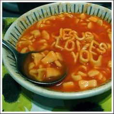 Jesus Loves You alphabet soup :) Apostles Creed, My Jesus, Jesus Bible, Jesus Christ, Alphabet Soup, Inspirational Signs, Daughters Of The King, Jesus Loves You, Lord And Savior