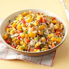 Roasted Butternut Squash & Rice Salad. I would use white or brown rice instead of the suggested rice.