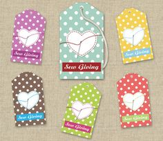 For this ShanasPaw.com Tie-On Tag design, a heart being appliqued onto a bright polka dotted background symbolizes the love stitched into your projects. It is sized to print as a tie-on tag on Avery and similar commercial stationery products, 8 tags per sheet of letter-size stock. Your purchase includes 6 templates  with your choice of colors and wording. After we customize your templates, we will email them to you ready to print.