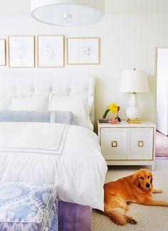bedroom pretty bedroom {and a cute pup! Bedroom Decor DIY mid-century modern interior (present day) Pretty Bedroom, White Bedroom, Master Bedroom, Periwinkle Bedroom, Gold Bedroom, Serene Bedroom, Purple Bedding, White Bedding, Bedroom Bed