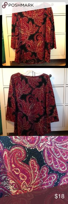 Black Jones Studio Top with Maroon Paisley Pattern NWOT black and maroon Jones Studio shirt. Womens petite large with 3/4 sleeves, very lightweight material made of 96% Polyester and 4% elastane. In great condition!! NO Trades NO PayPal Jones Studio Tops Blouses