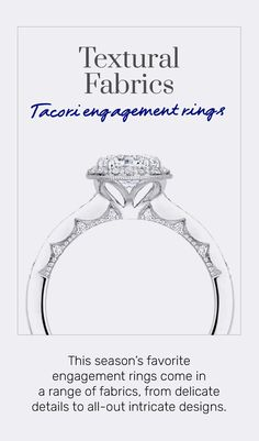 #TacoriTrends Textural Fabrics: Not just about the diamonds, this season's engagement rings come in a flurry of fabrics, ranging from neat details in our Simply Tacori through to all-out intricate designs in our Classic and Petite Crescents - all with our signature hidden heart-shape. #2021Trends #Tacori #TacoriRing #engagementring #details Tacori Rings, Tacori Engagement Rings, Crescents, Heart Shapes, Diamonds, Fabrics, Vintage Fashion, Texture, Detail
