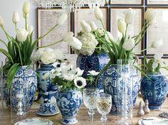Blue and White porcelain in VERANDA. Interior Design by Lisa Luby Ryan.
