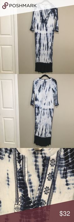 """Blue Tie Dye Embroidered Maxi Tunic with High Slit Boho chic Maxi Dress/ beach cover up. Crinkle material Blue tie dye and solid dip dye on the bottom. Deep v-neck with embroidery. Total length of dress about 53"""" and the slit is about 24"""". I'm 5""""3 and the slit hits upper mid thigh. Sand and Spirit Dresses Maxi"""