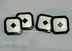 White Guilloché and Black Enamel on Sterling Cufflinks 1920s-30s