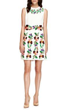 VALENTINO Embroidered Pleated Cady Dress $10,500 - Moda Operandi