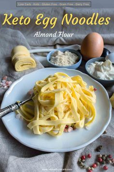 Egg Noodle Recipes, Low Carb Noodles, Pasta Noodles, Comida Keto, Diet Recipes, Healthy Recipes, Easy Low Carb Recipes, Tilapia Recipes, Recipes Dinner