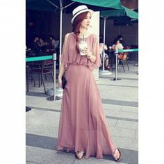 $13.31 Charming Solid Color Beam Waist Flounce Chiffon Dress For Women