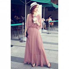 $13.31 Charming Solid Color Beam Waist Flounce Chiffon Dress For Women